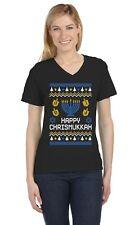 Happy Chrismukkah Xmas Hanukkah Ugly Christmas V-Neck Women T-Shirt Gift
