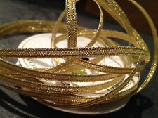 3mm SPARKLY GOLD METALLIC CHRISTMAS RIBBON FULL ROLL 5m