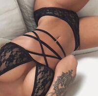 Black Lace 2 Pcs Set  Nightwear  Ladies Babydoll Bra + Thong S 6-8