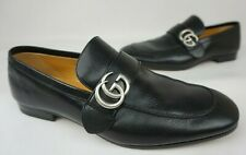 Gucci Donnie GG Web Leather Loafers Black Nero Men's Shoes Size 9.5 G/ 10.5 US
