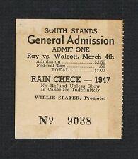 RARE Miami 1947 Jersey Joe Walcott Elmer Ray boxing ticket Wilson Wills Lewis