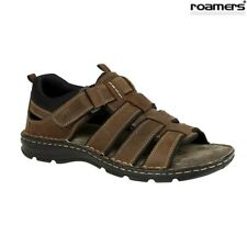 Mens Leather Sandals Brown Roamers Open Toe Size 6,7,8,9,10,11,12 UK