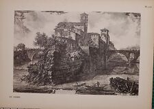 ANTIQUE PIRANESI PRINT 100 YEARS OLD from VIEWS of ROME TIBERIN ISLAND