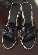 BURBERRY WOMEN'S BLACK WEDGE ESPADRILLE SANDALS SHOES SIZE 36