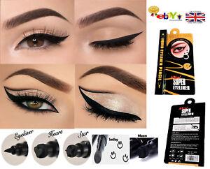 Precision Black 2n1 Waterproof Eyeliner Pens Liquid with Stamp Tattoo in 4 Shape