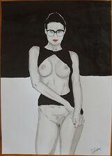 """Dessin encre de chine erotique nu féminin fine art """"domino"""" A4 Par G.Vanspey"""