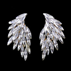 Full Crystal Angel Wing Super Twinkling Czech Crystal Earrings 5.5 x 3cm