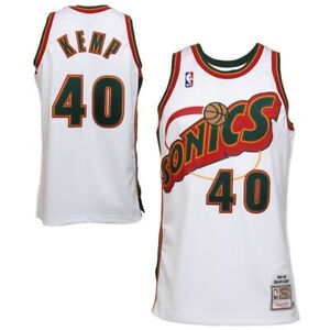 Shawn Kemp #40 Seattle Supersonics Men's M&N White w/ green & red Sonics Jersey