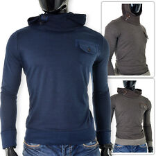 Mens Sweater Jumper Pullover D&R Fashion Hooded Pocket Thick Knit Warm SLIM FIT