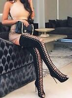 Thigh High Open Toe Stiletto Heel Lace Up Ove Knee Boots Nubuck Gladiator Womens