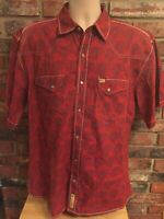 Larry Mahan Cowboy Collection Paisley Shirt Western Pearl Snap Size XL Red