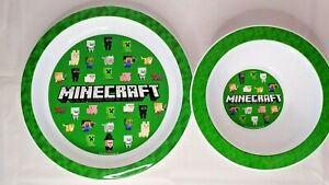 Minecraft Childrens Breakfast Lunch Dinner Bowl & Plate Set - BPA Free