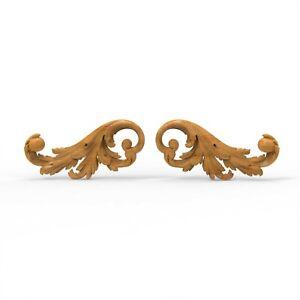Wood Carved Flower Baroque Applique Leaves Floral Ornament Moulding Furniture 2x