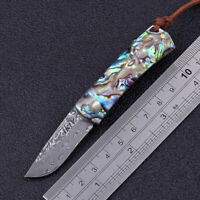 Small Mini Abalone Wood Handle Damascus Steel Blade Keyirng Pocket Folding Knife