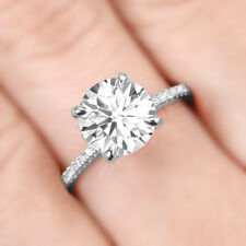3 CT Solitaire With Accents Diamond Engagement Wedding Ring 925 Sterling Silver