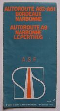 carte A.S.F. autoroute A62-A61 Bordeaux-Narbonne, A9 Narbonne-Le Perthus 1983