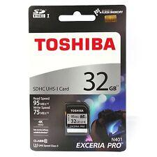 Toshiba SDXC 32GB 95MB UHS-I U3 Memory Card 4K Exceria Pro N401 R95/W75