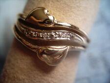 Diamant Ring Gold 585 Gr.54, breiter Damenring Gold 585 Diamant 0,03 ct Gr.54