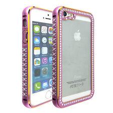 For iPhone SE / 5S - Slim Aluminum Hard Metal Bumper Case Cover Rose Gold Bling