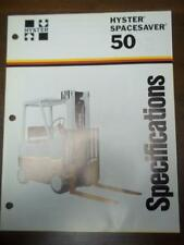 Hyster Lift Truck Brochure~S50E Spacesaver~Specifications ~Catalog Insert 1976