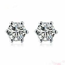 7mm White Sapphire 6 Prong Screw Back Stud Earrings in Solid Sterling Silver