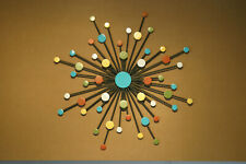 Abstract Metal Sunburst Sculpture Mid Century Modern Metal Wall Art Retro Color