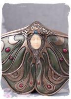 Boîte Avec Couvercle Art Nouveau Boîte À Bijoux Antique Tête De Femme Papillon