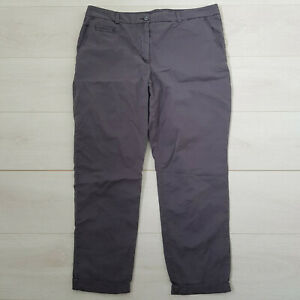 M&S Casual Cotton Trousers Size 16 W36 L26 Graphite Grey Pockets High Rise Zip