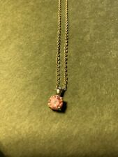 Silver Colored Necklace W/pink Pendant (b7)