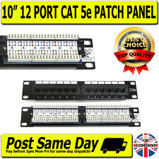 "10 "" de 1u 12 Puertos de manera Cat5e Ethernet Rj45 Patch Panel de Red de montaje en rack Hub Switch"