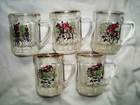 VINTAGE 5 MINI GLASS TANKARDS WITH HUNTING SCENES