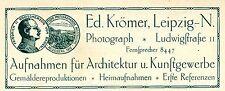 Ed. Krömer Leipzig PHOTOGRAPH Historische Reklame von 1914