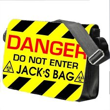 Personalised Boy's DANGER Keep Out School Bag College Laptop Bag add a name free