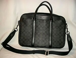 COACH SLEEK SPACIOUS SIGNATURE LAPTOP BAG MESSENGER CASE USED 1X  EXCELLENT