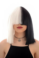Sia Wig | Black & White Thick Bob Wig | Long Blunt Fringe | Cosplay Dress Wigs