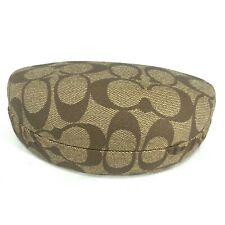 Coach Sunglasses Glasses Hard Shell Case Tan Brown Signature C's Clamshell