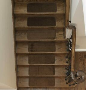 """14 Ottomanson Softy SST2618-14 Soft Plush Stair Treads 9""""x26"""" Brown Rubber Back"""