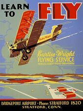 ADVERTISING CURTISS WRIGHT FLYING LESSON PLANE USA ART POSTER PRINT LV651