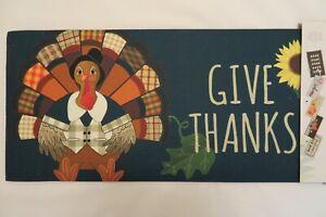 """""""GIVE THANKS"""" Thanksgiving Turkey Sassafras Rug Insert Switch Door Mat 10x22"""