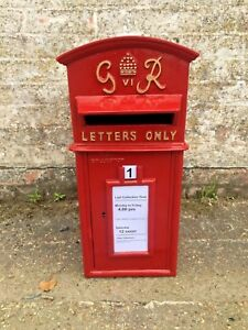 British Royal Mail Replica GR Red Post Office Post Box - available with stand