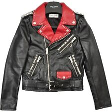 SAINT LAURENT PARIS 6990$ Authentic New Black Red Degrade Leather Biker Jacket