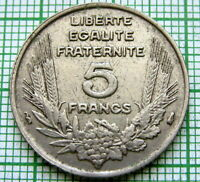 FRANCE 1933 5 FRANCS, ONE YEAR TYPE