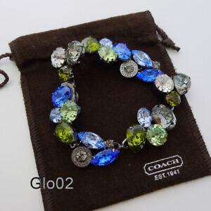 NWT COACH Poppy Blue Pave JEWEL Stone Cluster Bracelet NEW 94779