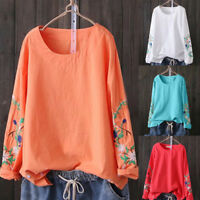 Oversized Women Ladies Embroidery Round Neck Long Sleeve Loose Shirt Blouse Tops