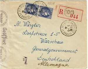 France 1941 Paris cancel on registered cover to POLAND, censored