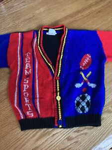 the club house vintage Cardigan sweater Button team sports made in usa