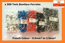 500 Double Entry Bootlace Ferrule Kit Cord End Terminal French Colour 0.5-2.5mm²