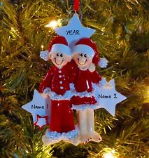PJ Lovers Couple Our First Christmas - Family 2 Personalized Christmas Ornament