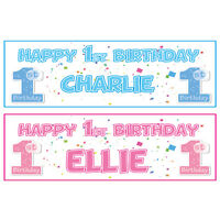 2 PERSONALISED HAPPY 1st BIRTHDAY BANNERS 3ft x 1ft - BOY OR GIRL - PINK OR BLUE
