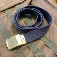 ROYAL AIR FORCE NO.2 DRESS BELT ADJUSTABLE RAF BLUE COTTON CANVAS, GOLD BUCKLE